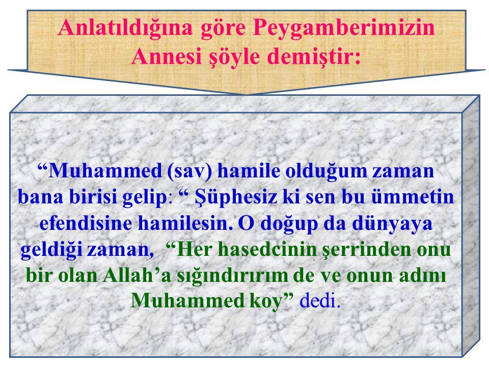 """Anlatıldığına göre Peygamberimizin Annesi şöyle demiştir: """"Muhammed (sav) hamile olduğum zaman bana birisi gelip: """" Şüphesiz ki sen bu ümmetin efendis"""