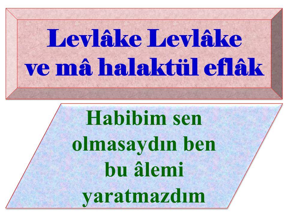Levlâke Levlâke ve mâ halaktül eflâk Habibim sen olmasaydın ben bu âlemi yaratmazdım Levlâke ve mâ halaktül eflâk Levlâke ve mâ halaktül eflâk Habibim