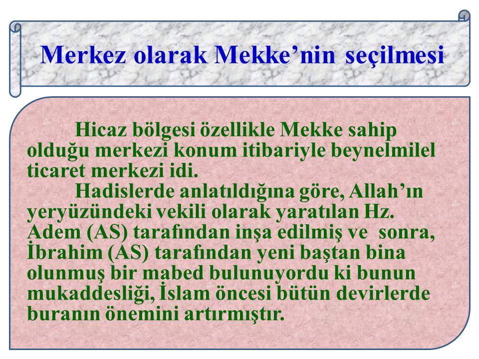 Merkez olarak Mekke'nin seçilmesi: Merkez olarak Mekke'nin seçilmesi Hicaz bölgesi özellikle Mekke sahip olduğu merkezi konum itibariyle beynelmilel t
