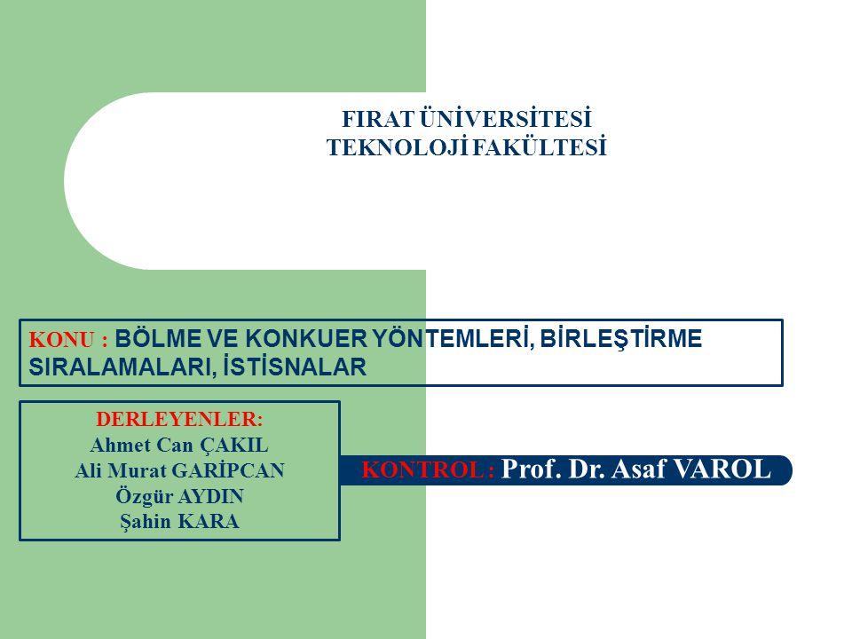 FIRAT ÜNİVERSİTESİ TEKNOLOJİ FAKÜLTESİ DERLEYENLER: Ahmet Can ÇAKIL Ali Murat GARİPCAN Özgür AYDIN Şahin KARA KONTROL : Prof. Dr. Asaf VAROL KONU : BÖ