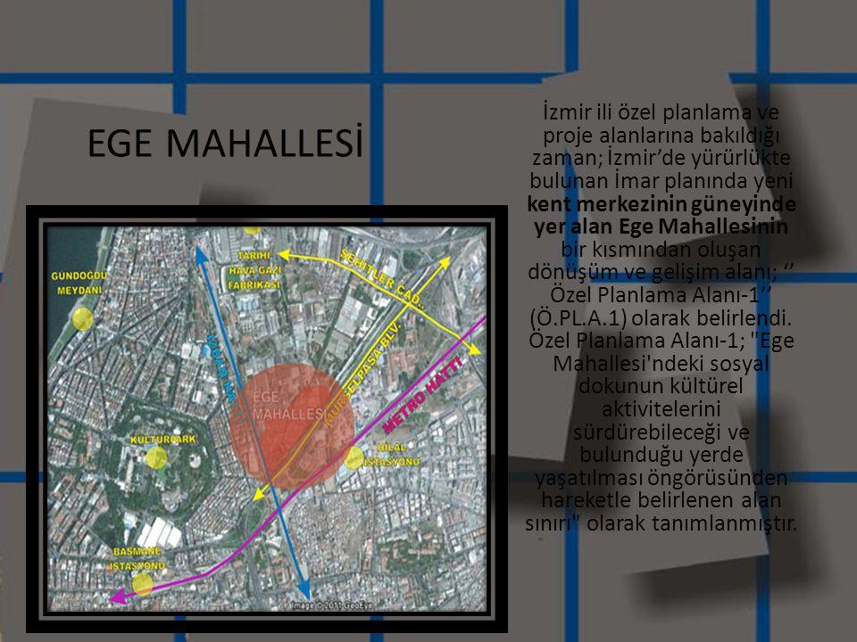 İzmir ili özel planlama ve proje alanlarına bakıldığı zaman; İzmir'de yürürlükte bulunan İmar planında yeni kent merkezinin güneyinde yer alan Ege Mah