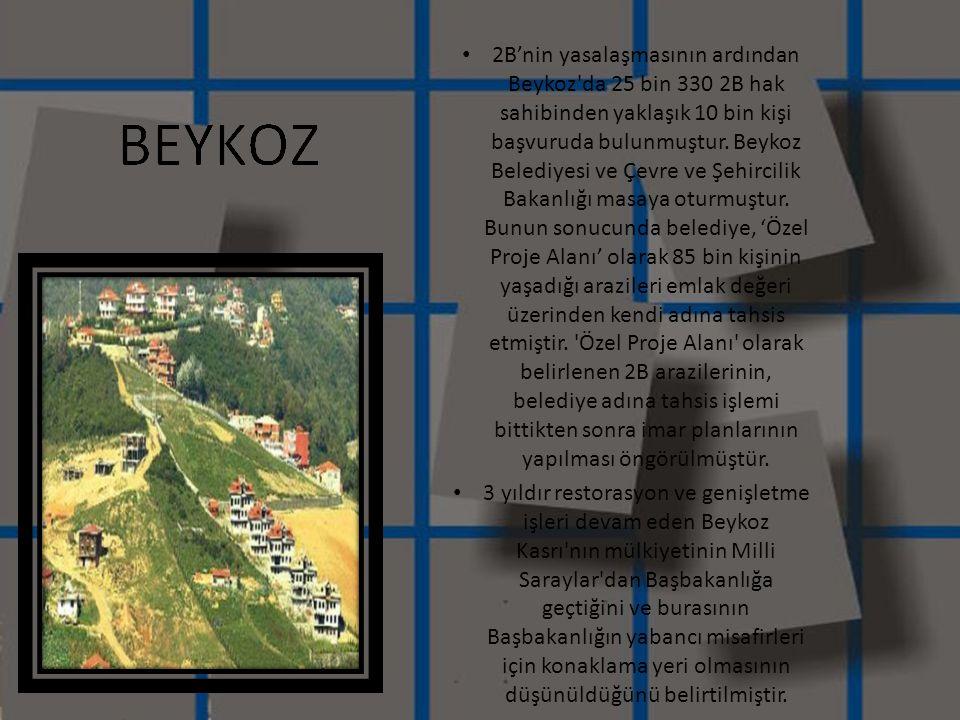 • 2B'nin yasalaşmasının ardından Beykoz'da 25 bin 330 2B hak sahibinden yaklaşık 10 bin kişi başvuruda bulunmuştur. Beykoz Belediyesi ve Çevre ve Şehi