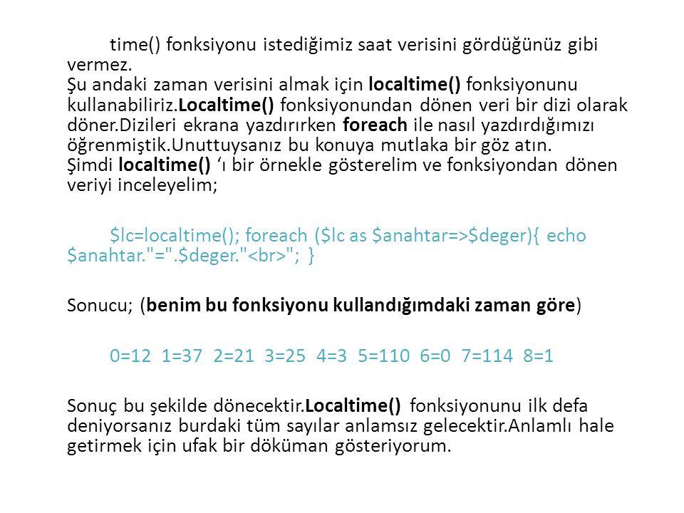 time() fonksiyonu istediğimiz saat verisini gördüğünüz gibi vermez. Şu andaki zaman verisini almak için localtime() fonksiyonunu kullanabiliriz.Localt