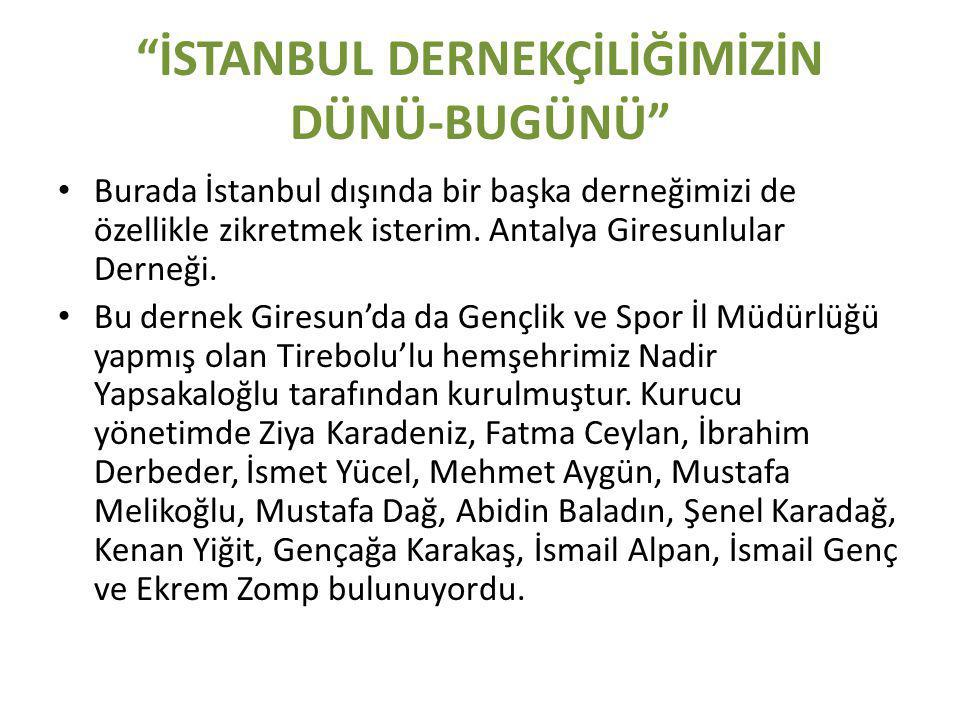 İSTANBUL DERNEKÇİLİĞİMİZİN DÜNÜ-BUGÜNÜ • Burada İstanbul dışında bir başka derneğimizi de özellikle zikretmek isterim.