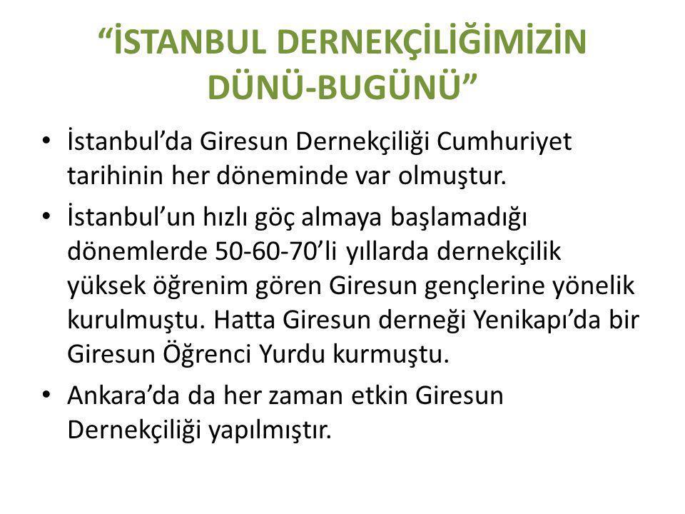 İSTANBUL DERNEKÇİLİĞİMİZİN DÜNÜ-BUGÜNÜ • İstanbul'da Giresun Dernekçiliği Cumhuriyet tarihinin her döneminde var olmuştur.
