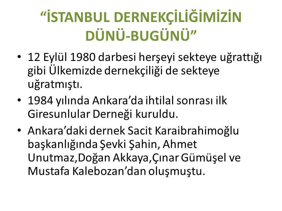 İSTANBUL DERNEKÇİLİĞİMİZİN DÜNÜ-BUGÜNÜ • 12 Eylül 1980 darbesi herşeyi sekteye uğrattığı gibi Ülkemizde dernekçiliği de sekteye uğratmıştı.