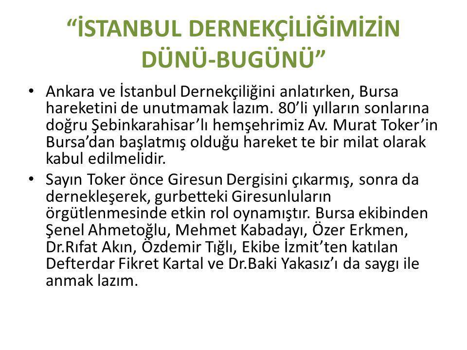 İSTANBUL DERNEKÇİLİĞİMİZİN DÜNÜ-BUGÜNÜ • Ankara ve İstanbul Dernekçiliğini anlatırken, Bursa hareketini de unutmamak lazım.