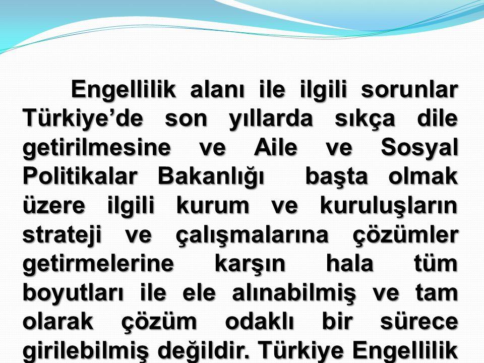 Engellilik alanı ile ilgili sorunlar Türkiye'de son yıllarda sıkça dile getirilmesine ve Aile ve Sosyal Politikalar Bakanlığı başta olmak üzere ilgili kurum ve kuruluşların strateji ve çalışmalarına çözümler getirmelerine karşın hala tüm boyutları ile ele alınabilmiş ve tam olarak çözüm odaklı bir sürece girilebilmiş değildir.