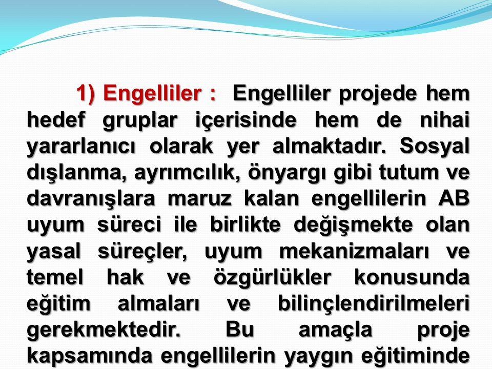 1) Engelliler : Engelliler projede hem hedef gruplar içerisinde hem de nihai yararlanıcı olarak yer almaktadır.