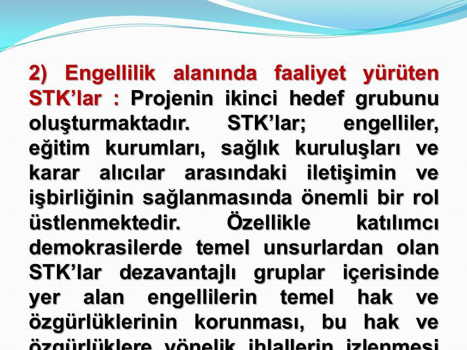 2) Engellilik alanında faaliyet yürüten STK'lar : Projenin ikinci hedef grubunu oluşturmaktadır. STK'lar; engelliler, eğitim kurumları, sağlık kuruluş