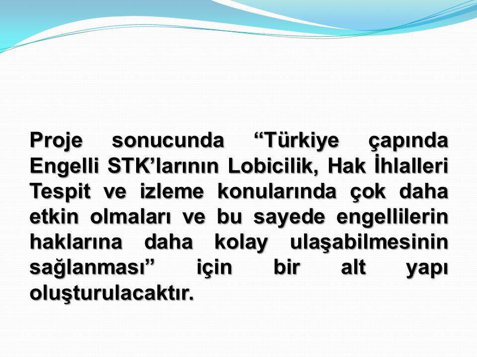 Proje sonucunda Türkiye çapında Engelli STK'larının Lobicilik, Hak İhlalleri Tespit ve izleme konularında çok daha etkin olmaları ve bu sayede engellilerin haklarına daha kolay ulaşabilmesinin sağlanması için bir alt yapı oluşturulacaktır.