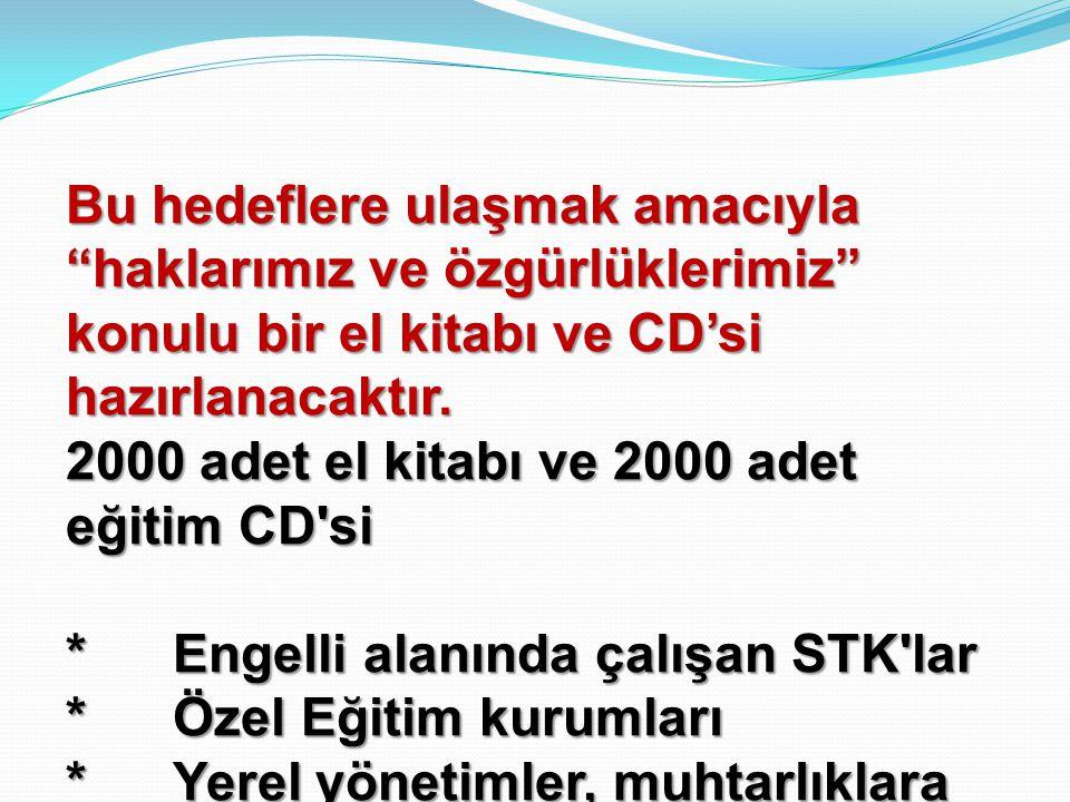"""Bu hedeflere ulaşmak amacıyla """"haklarımız ve özgürlüklerimiz"""" konulu bir el kitabı ve CD'si hazırlanacaktır. 2000 adet el kitabı ve 2000 adet eğitim C"""