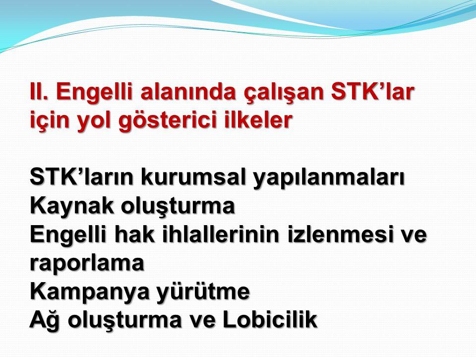 II. Engelli alanında çalışan STK'lar için yol gösterici ilkeler STK'ların kurumsal yapılanmaları Kaynak oluşturma Engelli hak ihlallerinin izlenmesi v