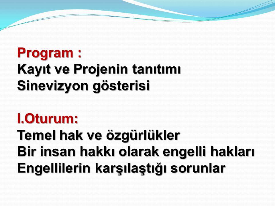 Program : Kayıt ve Projenin tanıtımı Sinevizyon gösterisi I.Oturum: Temel hak ve özgürlükler Bir insan hakkı olarak engelli hakları Engellilerin karşı
