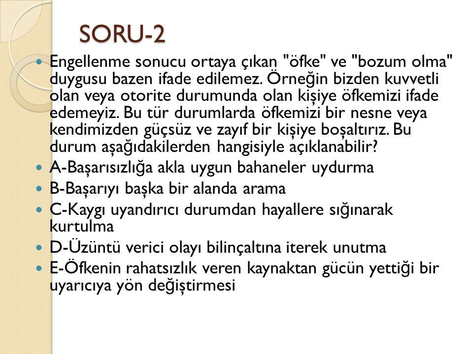 SORU-2  Engellenme sonucu ortaya çıkan