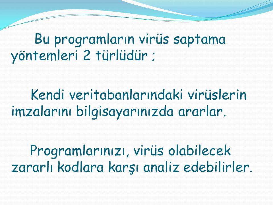Bu programların virüs saptama yöntemleri 2 türlüdür ; Kendi veritabanlarındaki virüslerin imzalarını bilgisayarınızda ararlar. Programlarınızı, virüs