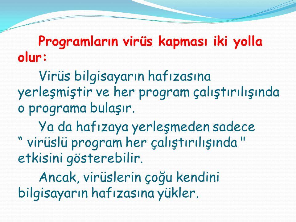 Programların virüs kapması iki yolla olur: Virüs bilgisayarın hafızasına yerleşmiştir ve her program çalıştırılışında o programa bulaşır. Ya da hafıza
