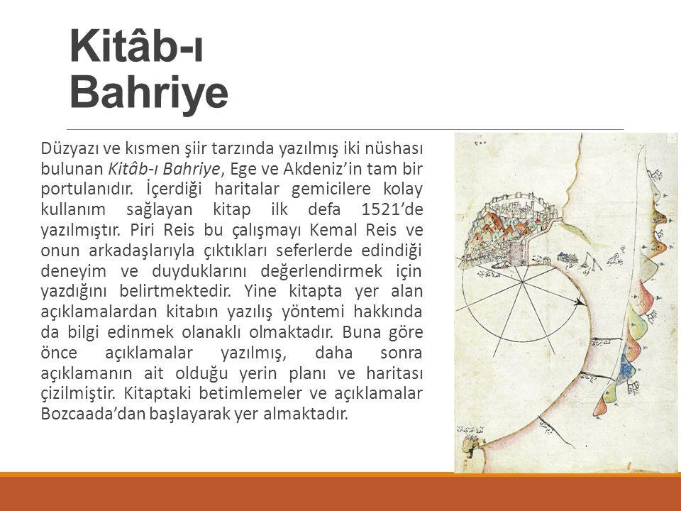 Düzyazı ve kısmen şiir tarzında yazılmış iki nüshası bulunan Kitâb-ı Bahriye, Ege ve Akdeniz'in tam bir portulanıdır. İçerdiği haritalar gemicilere ko