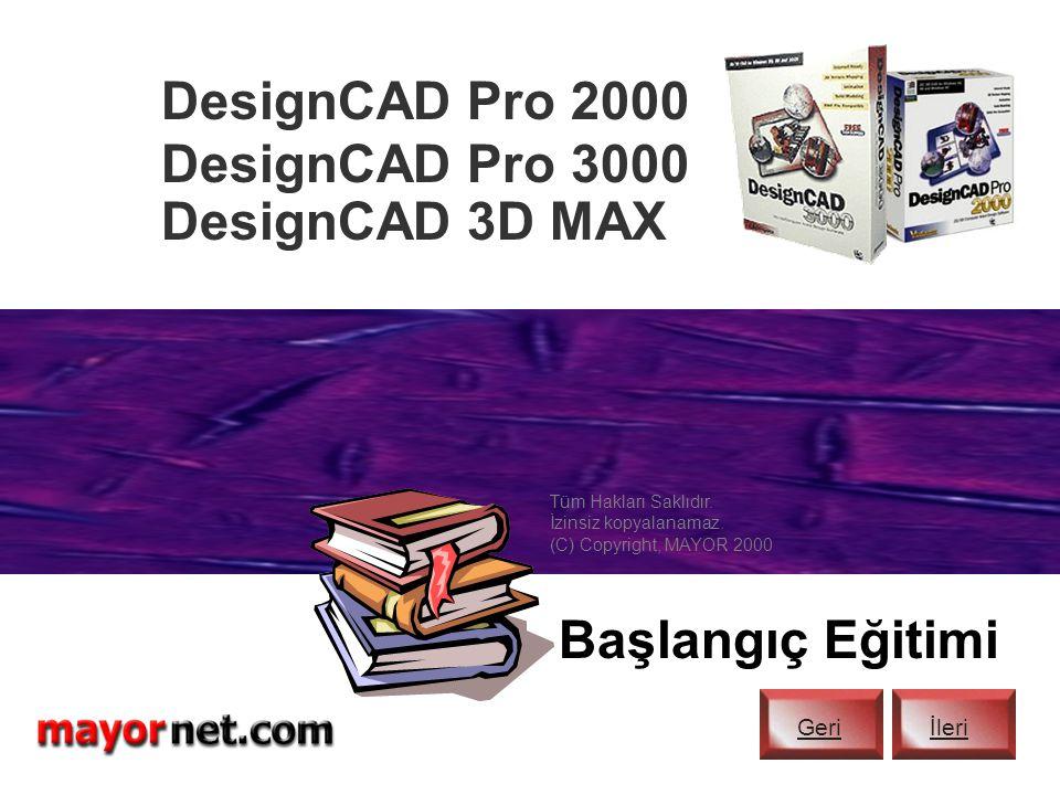 """DesignCAD programınızın ön bilgileri burada tamamlanmaktadır. Diğer İnteraktif CD ve Video eğitimlerimiz: DesignCAD Başlangıç (""""İLERİ"""" tuşu ile başlat"""