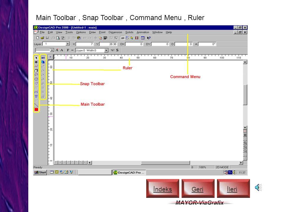 Toolbar ve Coordinate Bar İndeks Geriİleri