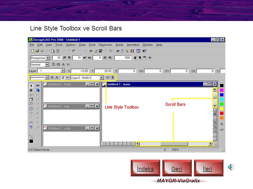 Material Toolbox ve Color Toolbox İndeks Geriİleri
