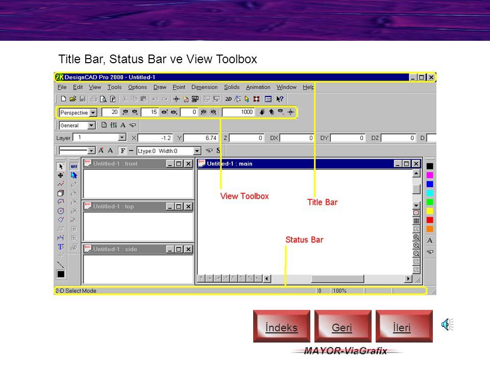 Line Style Toolbox ve Scroll Bars İndeks Geriİleri