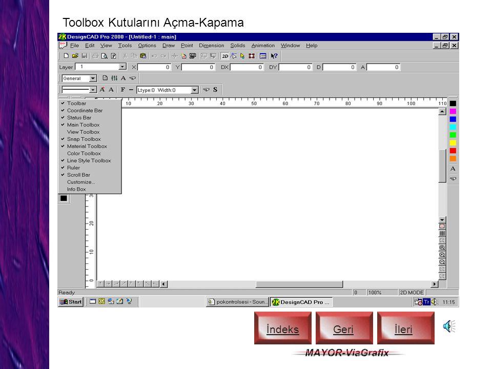 Title Bar, Status Bar ve View Toolbox İndeks Geriİleri