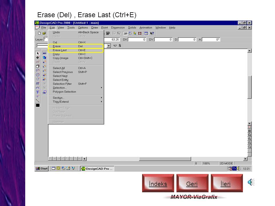 2-D Selection Mode, Set Handle İndeks Geriİleri