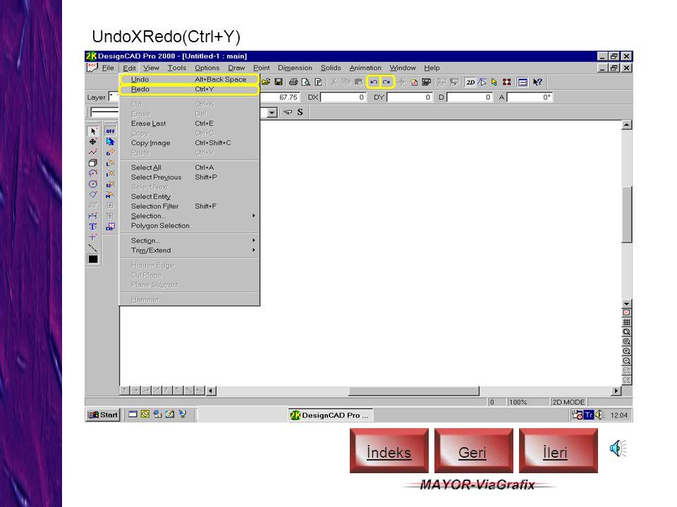 Erase (Del), Erase Last (Ctrl+E) İndeks Geriİleri