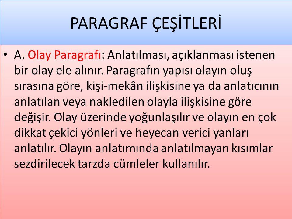 PARAGRAF ÇEŞİTLERİ • A. Olay Paragrafı: Anlatılması, açıklanması istenen bir olay ele alınır. Paragrafın yapısı olayın oluş sırasına göre, kişi-mekân