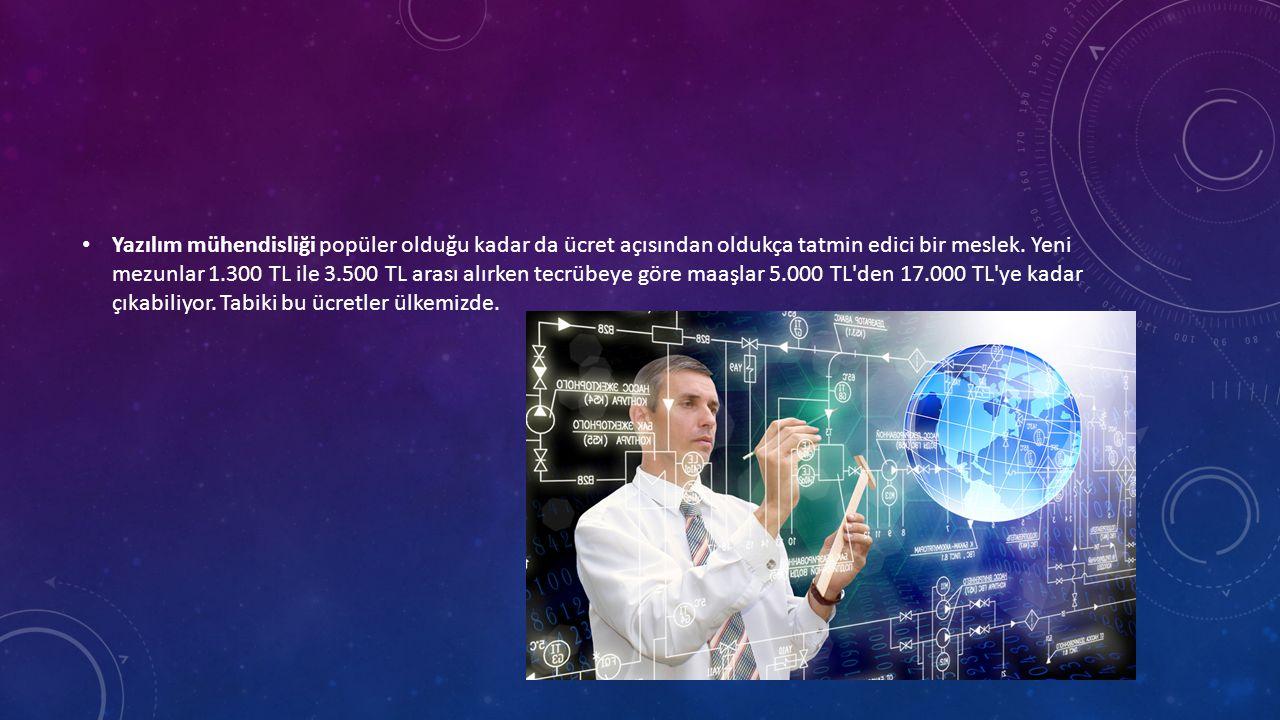 • Yazılım mühendisliği popüler olduğu kadar da ücret açısından oldukça tatmin edici bir meslek.