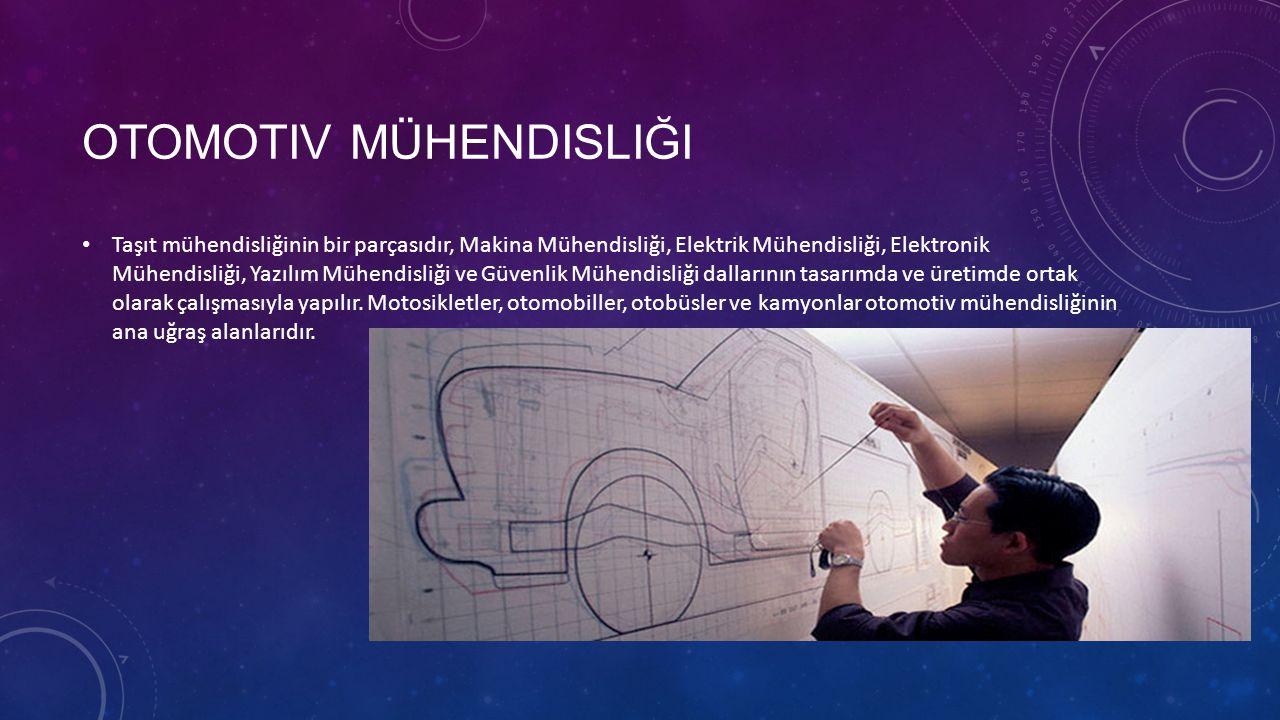 OTOMOTIV MÜHENDISLIĞI • Taşıt mühendisliğinin bir parçasıdır, Makina Mühendisliği, Elektrik Mühendisliği, Elektronik Mühendisliği, Yazılım Mühendisliği ve Güvenlik Mühendisliği dallarının tasarımda ve üretimde ortak olarak çalışmasıyla yapılır.