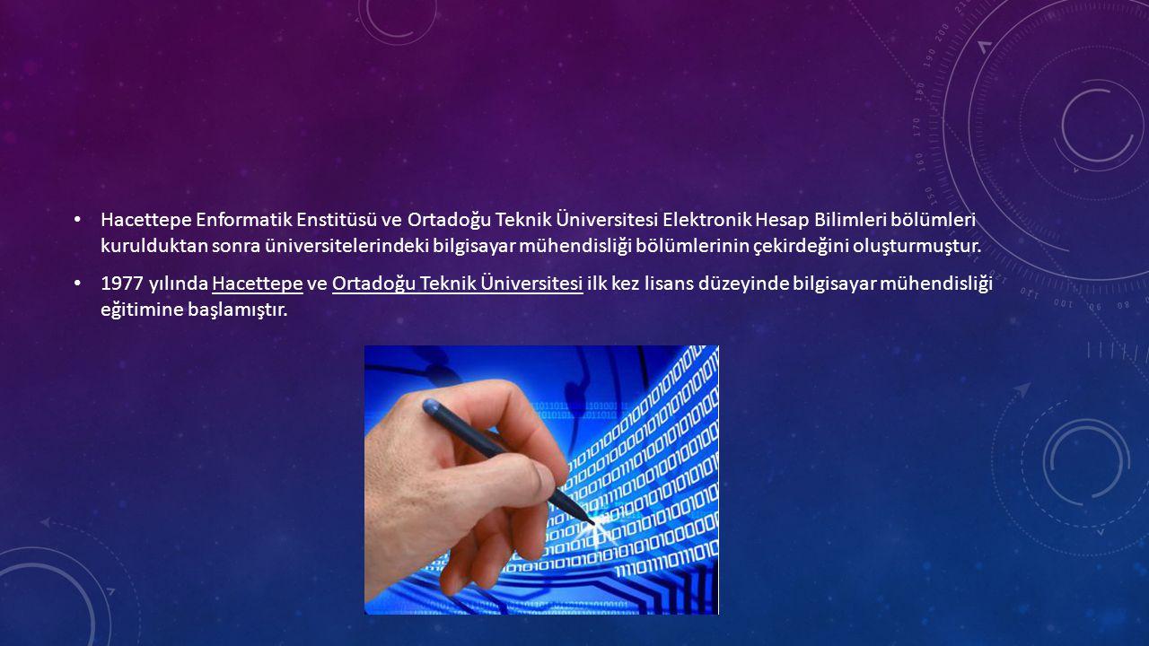 • Hacettepe Enformatik Enstitüsü ve Ortadoğu Teknik Üniversitesi Elektronik Hesap Bilimleri bölümleri kurulduktan sonra üniversitelerindeki bilgisayar mühendisliği bölümlerinin çekirdeğini oluşturmuştur.