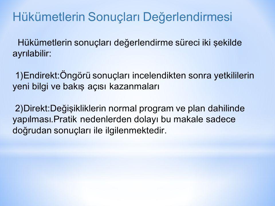 Hükümetlerin Sonuçları Değerlendirmesi Hükümetlerin sonuçları değerlendirme süreci iki şekilde ayrılabilir: 1)Endirekt:Öngörü sonuçları incelendikten