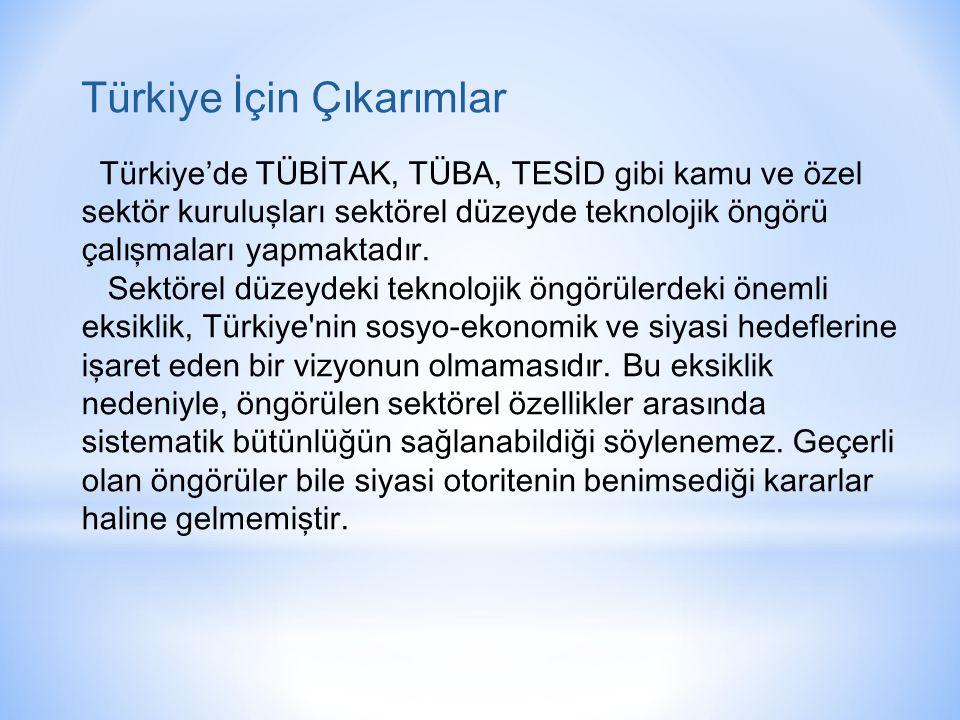 Türkiye İçin Çıkarımlar Türkiye'de TÜBİTAK, TÜBA, TESİD gibi kamu ve özel sektör kuruluşları sektörel düzeyde teknolojik öngörü çalışmaları yapmaktadır.