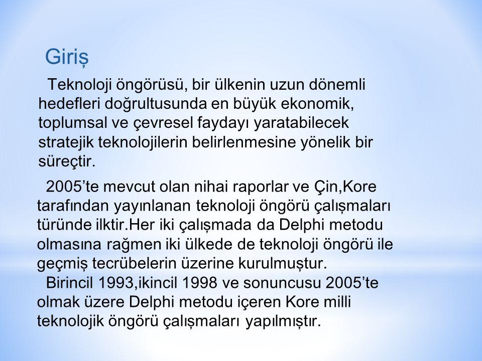 2005'te mevcut olan nihai raporlar ve Çin,Kore tarafından yayınlanan teknoloji öngörü çalışmaları türünde ilktir.Her iki çalışmada da Delphi metodu olmasına rağmen iki ülkede de teknoloji öngörü ile geçmiş tecrübelerin üzerine kurulmuştur.
