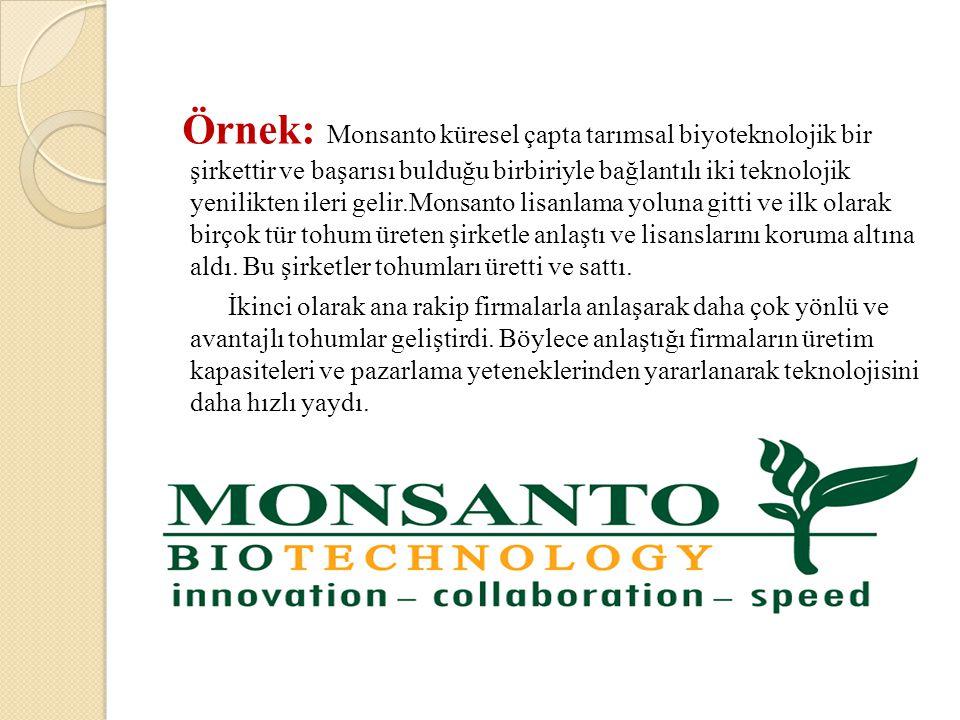 Örnek: Monsanto küresel çapta tarımsal biyoteknolojik bir şirkettir ve başarısı bulduğu birbiriyle bağlantılı iki teknolojik yenilikten ileri gelir.Mo