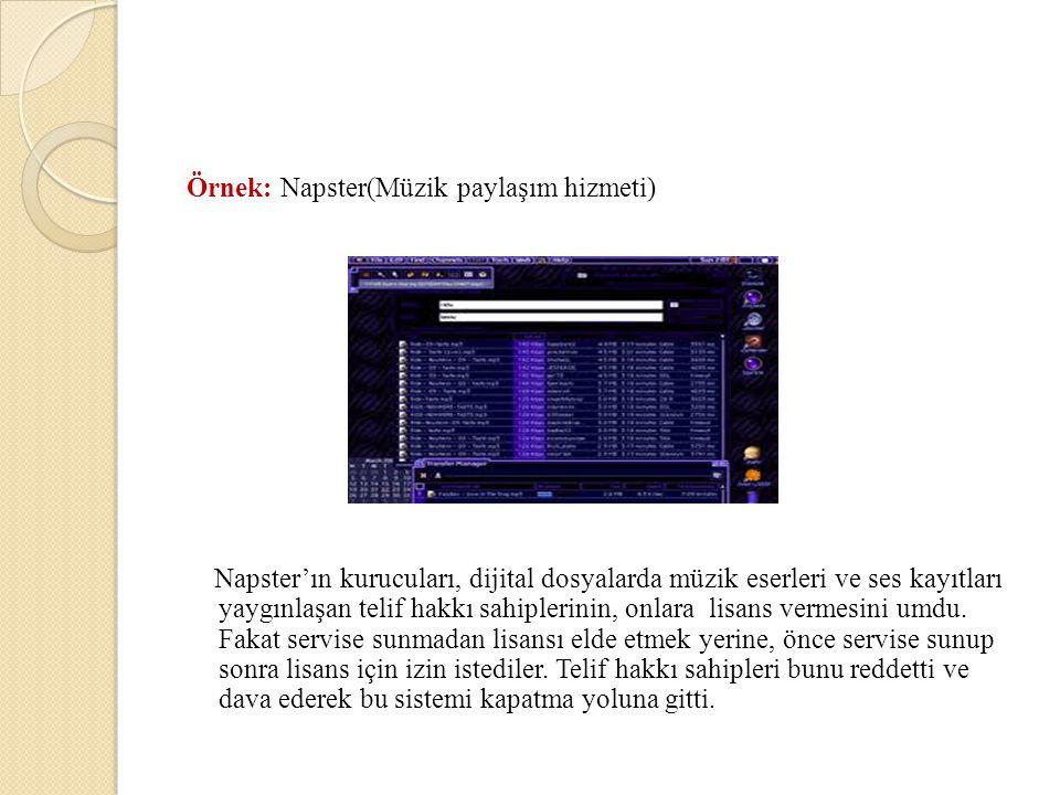 Örnek: Napster(Müzik paylaşım hizmeti) Napster'ın kurucuları, dijital dosyalarda müzik eserleri ve ses kayıtları yaygınlaşan telif hakkı sahiplerinin,