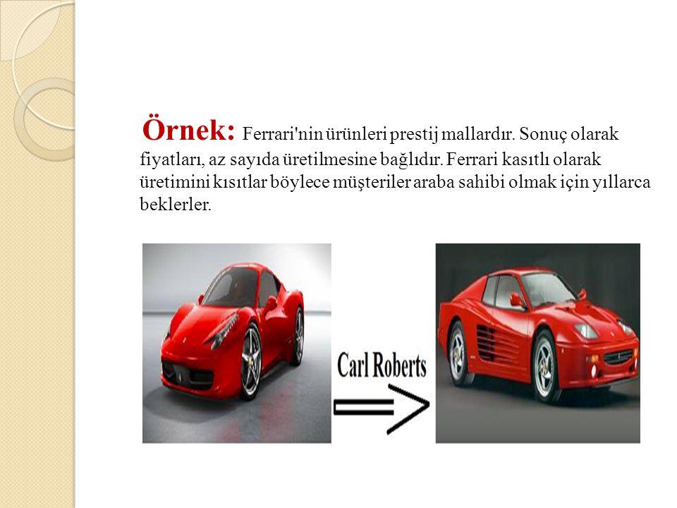 Örnek: Ferrari'nin ürünleri prestij mallardır. Sonuç olarak fiyatları, az sayıda üretilmesine bağlıdır. Ferrari kasıtlı olarak üretimini kısıtlar böyl