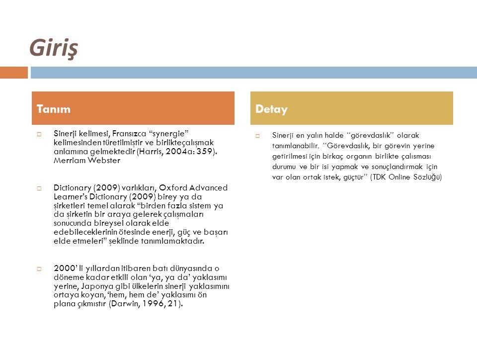 Giriş  Sinerji kelimesi, Fransızca synergie kelimesinden türetilmiştir ve birlikteçalışmak anlamına gelmektedir (Harris, 2004a: 359).
