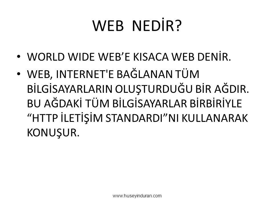 WEB NEDİR.• WORLD WIDE WEB'E KISACA WEB DENİR.