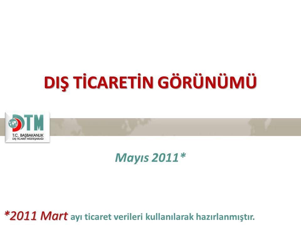 DIŞ TİCARETİN GÖRÜNÜMÜ Mayıs 2011* *2011 Mart *2011 Mart ayı ticaret verileri kullanılarak hazırlanmıştır.