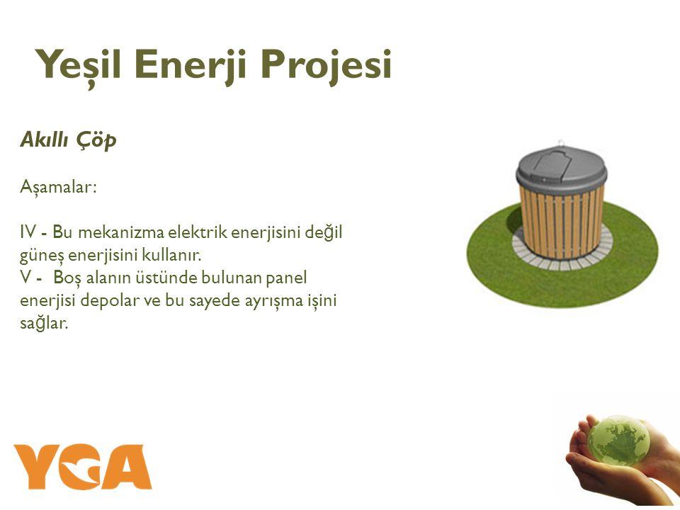 Akıllı Çöp Aşamalar: IV - Bu mekanizma elektrik enerjisini de ğ il güneş enerjisini kullanır. V - Boş alanın üstünde bulunan panel enerjisi depolar ve