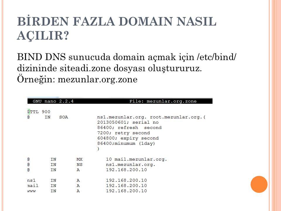 BİRDEN FAZLA DOMAIN NASIL AÇILIR? BIND DNS sunucuda domain açmak için /etc/bind/ dizininde siteadi.zone dosyası oluştururuz. Örneğin: mezunlar.org.zon