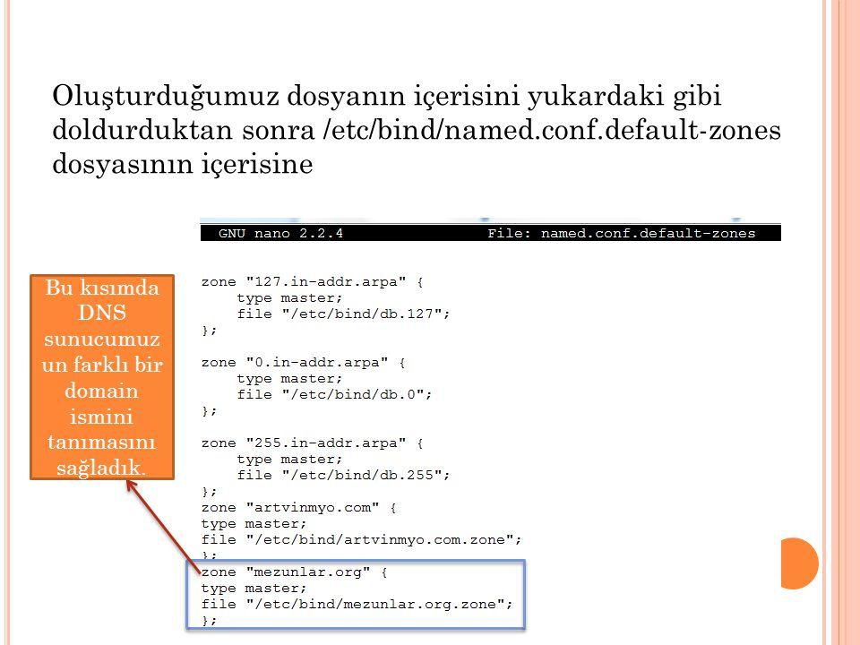 Oluşturduğumuz dosyanın içerisini yukardaki gibi doldurduktan sonra /etc/bind/named.conf.default-zones dosyasının içerisine Bu kısımda DNS sunucumuz un farklı bir domain ismini tanımasını sağladık.