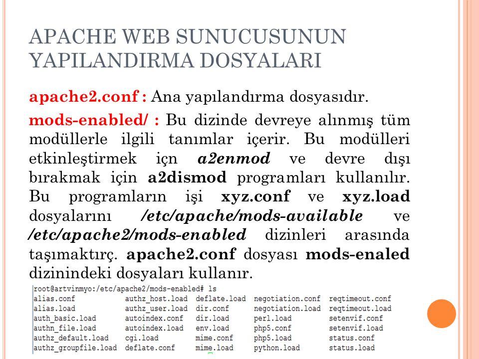 APACHE WEB SUNUCUSUNUN YAPILANDIRMA DOSYALARI apache2.conf : Ana yapılandırma dosyasıdır.