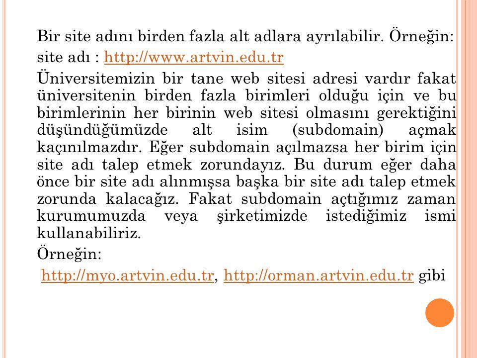 Bir site adını birden fazla alt adlara ayrılabilir. Örneğin: site adı : http://www.artvin.edu.trhttp://www.artvin.edu.tr Üniversitemizin bir tane web