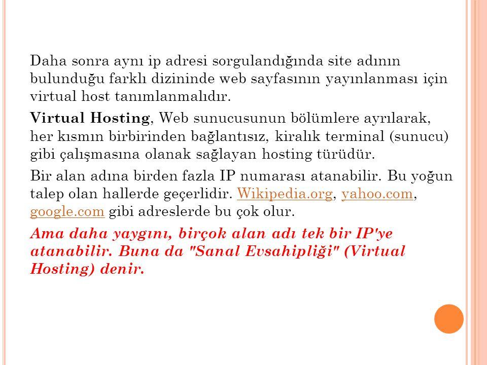 Daha sonra aynı ip adresi sorgulandığında site adının bulunduğu farklı dizininde web sayfasının yayınlanması için virtual host tanımlanmalıdır. Virtua
