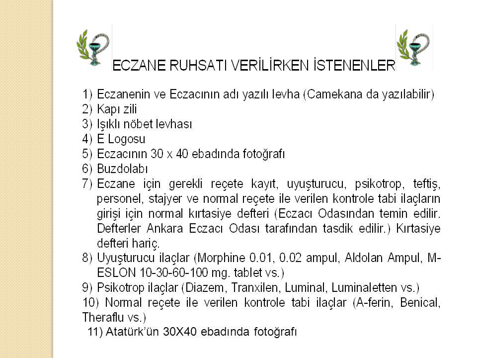 11) Atatürk'ün 30X40 ebadında fotoğrafı
