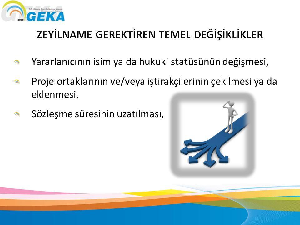 Yararlanıcının isim ya da hukuki statüsünün değişmesi, Proje ortaklarının ve/veya iştirakçilerinin çekilmesi ya da eklenmesi, Sözleşme süresinin uzatı